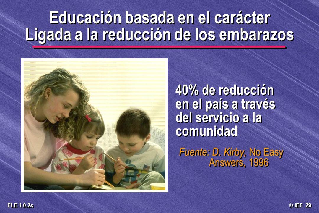 © IEF 29 FLE 1.0.2s 40% de reducción en el país a través del servicio a la comunidad Fuente: D. Kirby, No Easy Answers, 1996 Educación basada en el ca