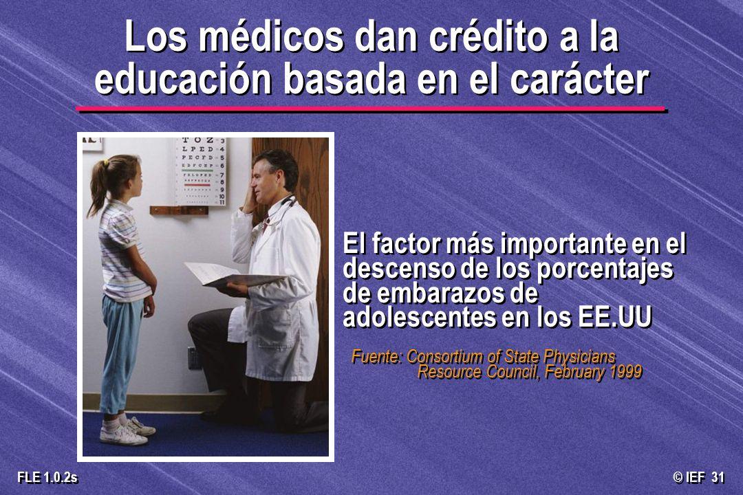 © IEF 31 FLE 1.0.2s Los médicos dan crédito a la educación basada en el carácter El factor más importante en el descenso de los porcentajes de embaraz