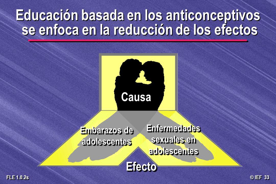 © IEF 33 FLE 1.0.2s Educación basada en los anticonceptivos se enfoca en la reducción de los efectos CausaCausa Embarazos de adolescentes Enfermedades