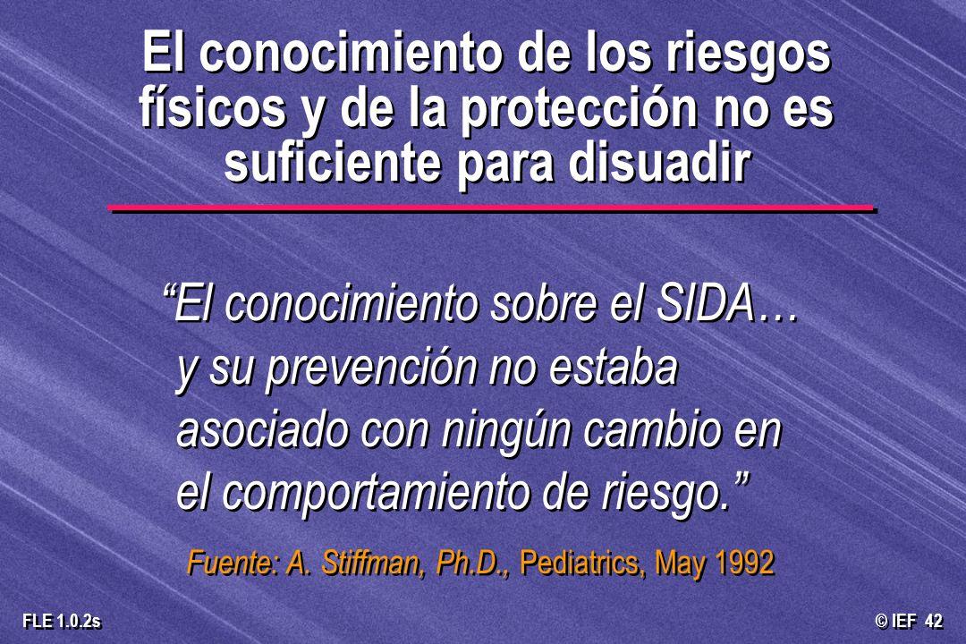 © IEF 42 FLE 1.0.2s El conocimiento de los riesgos físicos y de la protección no es suficiente para disuadir El conocimiento sobre el SIDA… y su preve