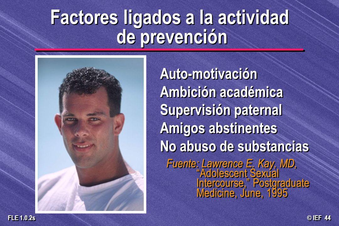 © IEF 44 FLE 1.0.2s Auto-motivación Ambición académica Supervisión paternal Amigos abstinentes No abuso de substancias Fuente: Lawrence E. Kay, MD, Ad