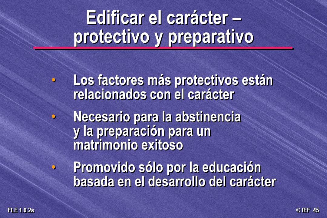 © IEF 45 FLE 1.0.2s Los factores más protectivos están relacionados con el carácter Necesario para la abstinencia y la preparación para un matrimonio