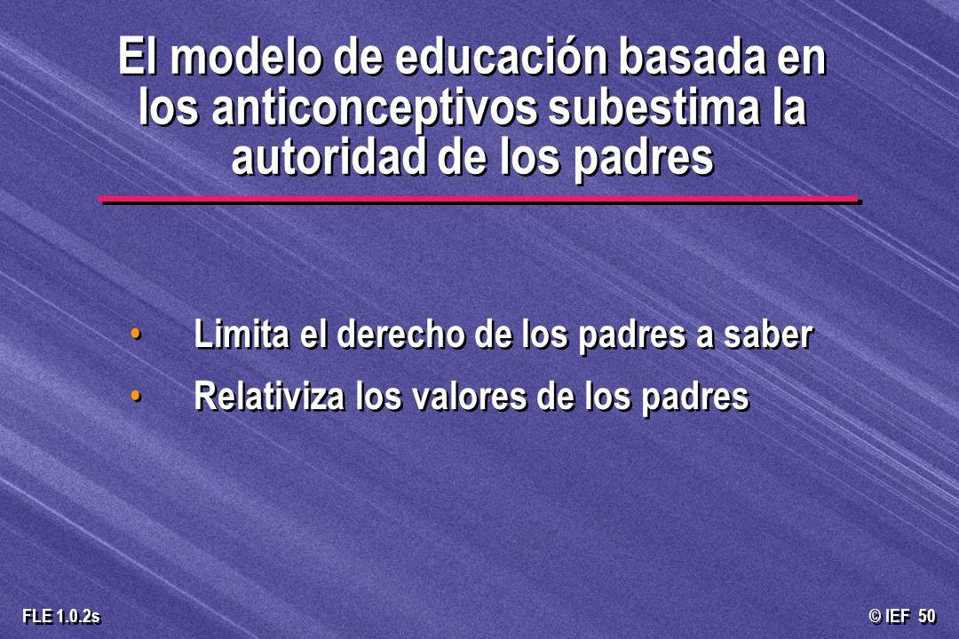 © IEF 50 FLE 1.0.2s Limita el derecho de los padres a saber Relativiza los valores de los padres Limita el derecho de los padres a saber Relativiza lo