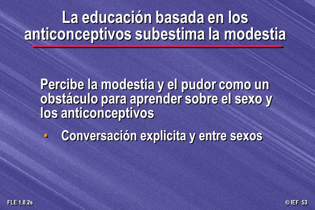© IEF 53 FLE 1.0.2s Percibe la modestia y el pudor como un obstáculo para aprender sobre el sexo y los anticonceptivos Conversación explicita y entre