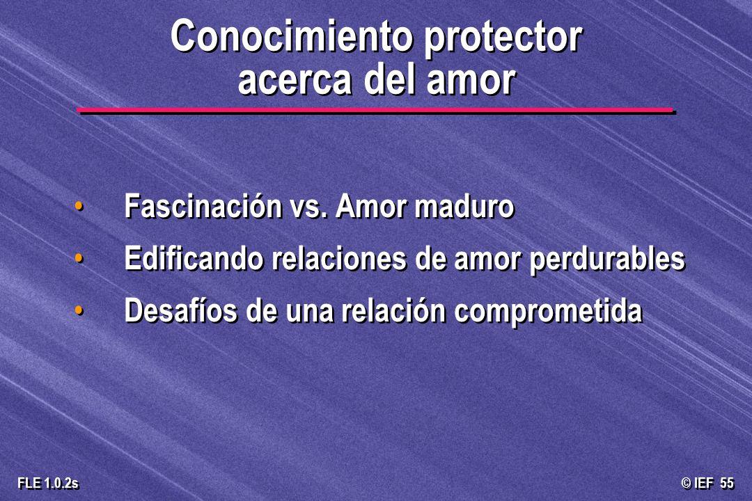 © IEF 55 FLE 1.0.2s Fascinación vs. Amor maduro Edificando relaciones de amor perdurables Desafíos de una relación comprometida Fascinación vs. Amor m