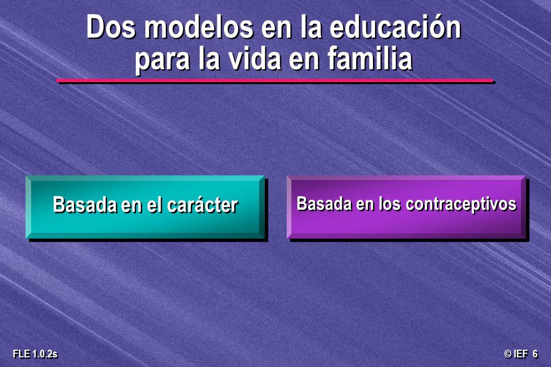 © IEF 47 FLE 1.0.2s Trata de ser neutral en los valores Permite a los estudiantes establecer sus propios estándares Desconecta a los jóvenes de la sabiduría tradicional La educación basada en los anticonceptivos carece de guía