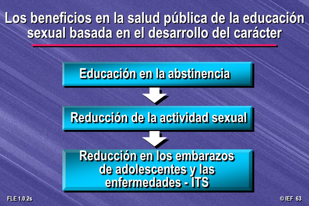 © IEF 63 FLE 1.0.2s Los beneficios en la salud pública de la educación sexual basada en el desarrollo del carácter Educación en la abstinencia Reducci