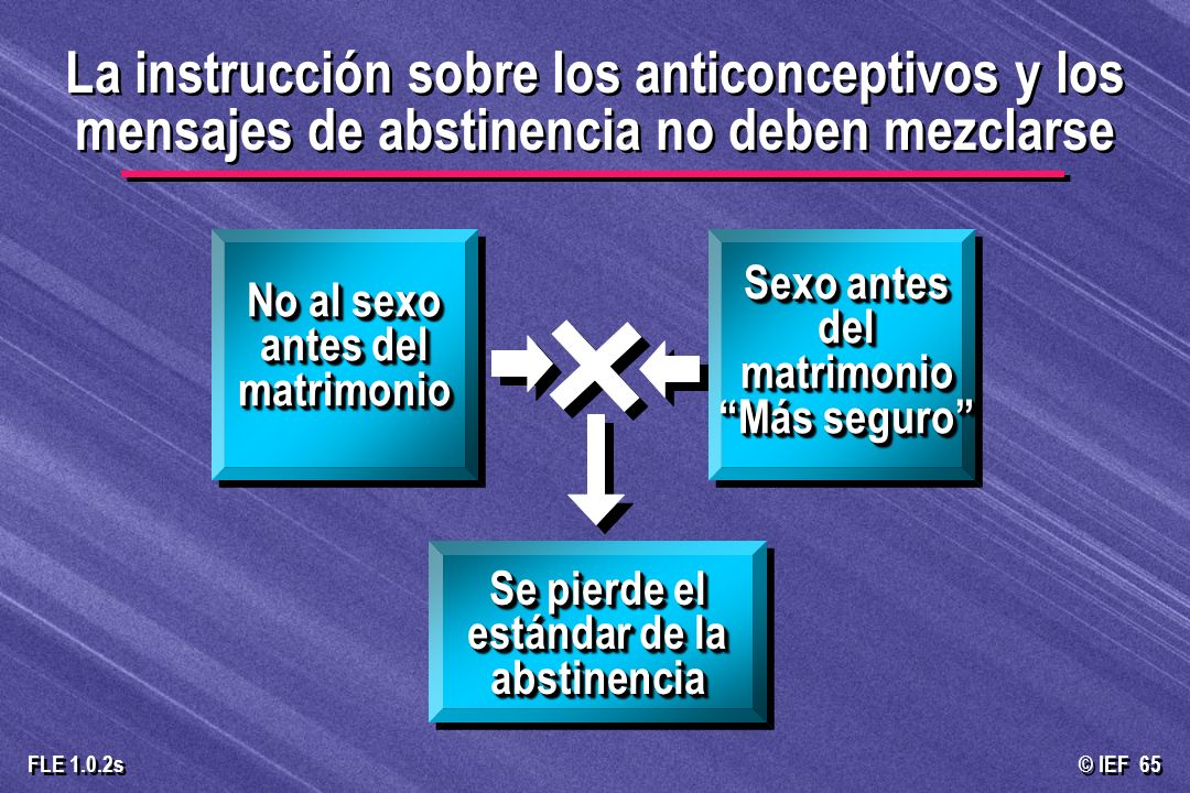 © IEF 65 FLE 1.0.2s La instrucción sobre los anticonceptivos y los mensajes de abstinencia no deben mezclarse No al sexo antes del matrimonio Sexo ant