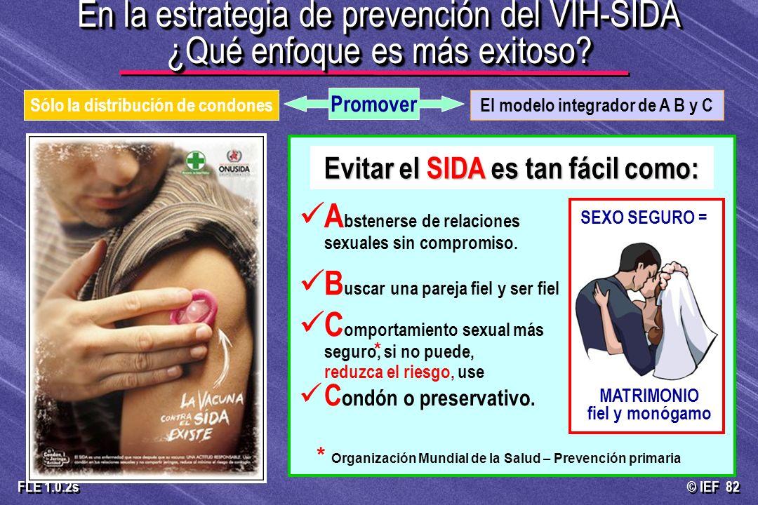 © IEF 82 FLE 1.0.2s En la estrategia de prevención del VIH-SIDA ¿Qué enfoque es más exitoso? El modelo integrador de A B y CSólo la distribución de co