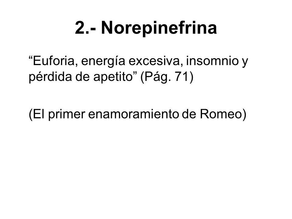 3.- Serotonina Asociada al carácter obsesivo del pensamiento enamorado: Tanto los participantes enamorados como los que sufrían TOC [Trastornos obsesivo- compulsivos] presentaron niveles significativamente menores de serotonina que los del grupo control.