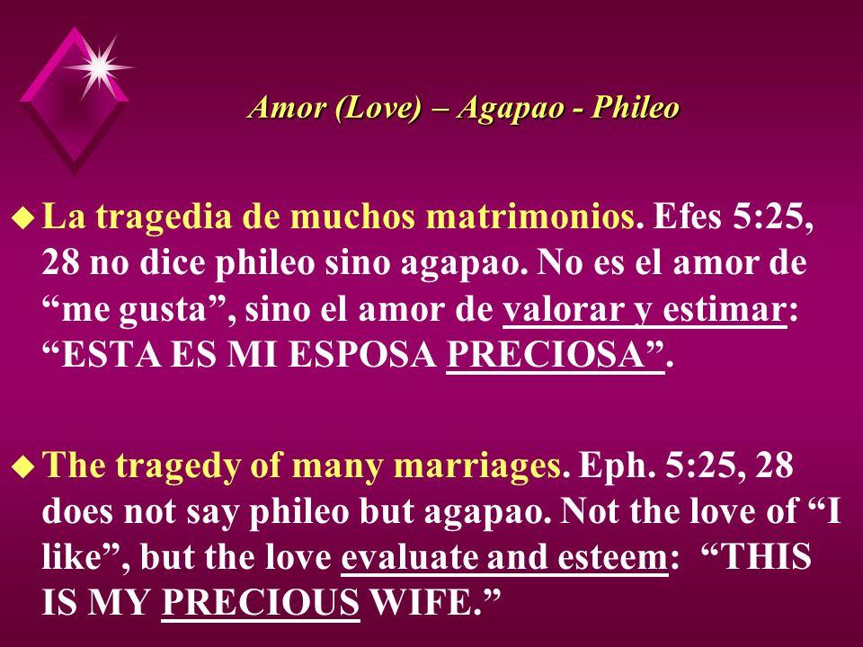Amor (Love) – Agapao - Phileo u La tragedia de muchos matrimonios. Efes 5:25, 28 no dice phileo sino agapao. No es el amor de me gusta, sino el amor d