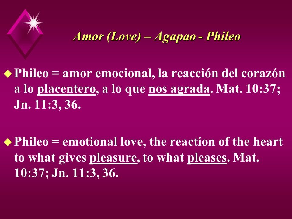 Amor (Love) – Agapao - Phileo u Jn.