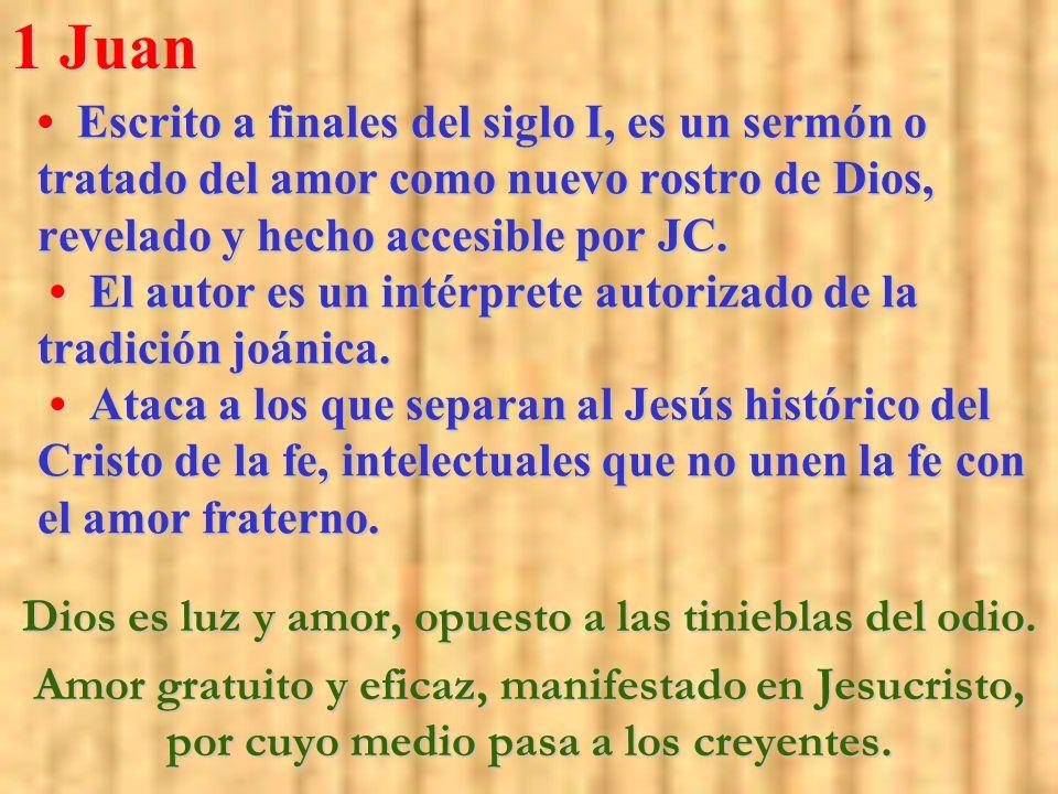 Escrito a finales del siglo I, es un sermón o tratado del amor como nuevo rostro de Dios, revelado y hecho accesible por JC. El autor es un intérprete