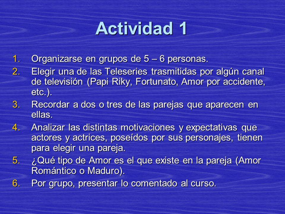Actividad 1 1.Organizarse en grupos de 5 – 6 personas. 2.Elegir una de las Teleseries trasmitidas por algún canal de televisión (Papi Riky, Fortunato,