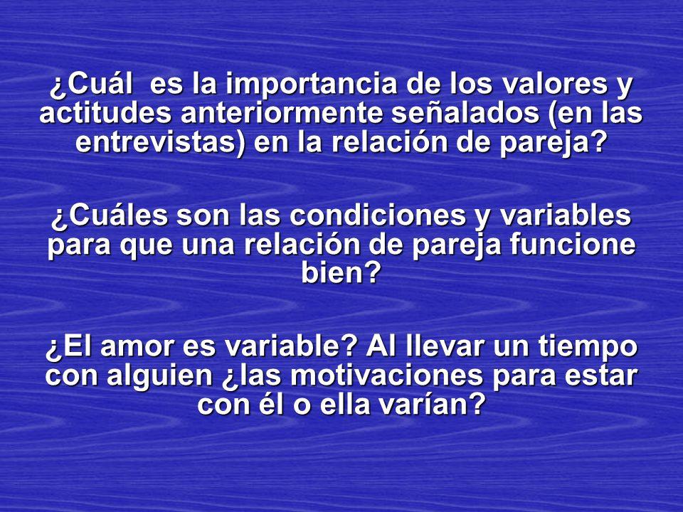 ¿Cuál es la importancia de los valores y actitudes anteriormente señalados (en las entrevistas) en la relación de pareja? ¿Cuáles son las condiciones