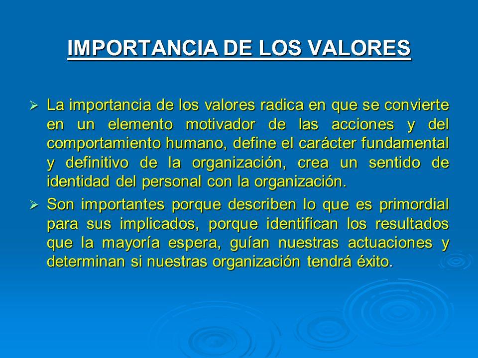 IMPORTANCIA DE LOS VALORES La importancia de los valores radica en que se convierte en un elemento motivador de las acciones y del comportamiento huma