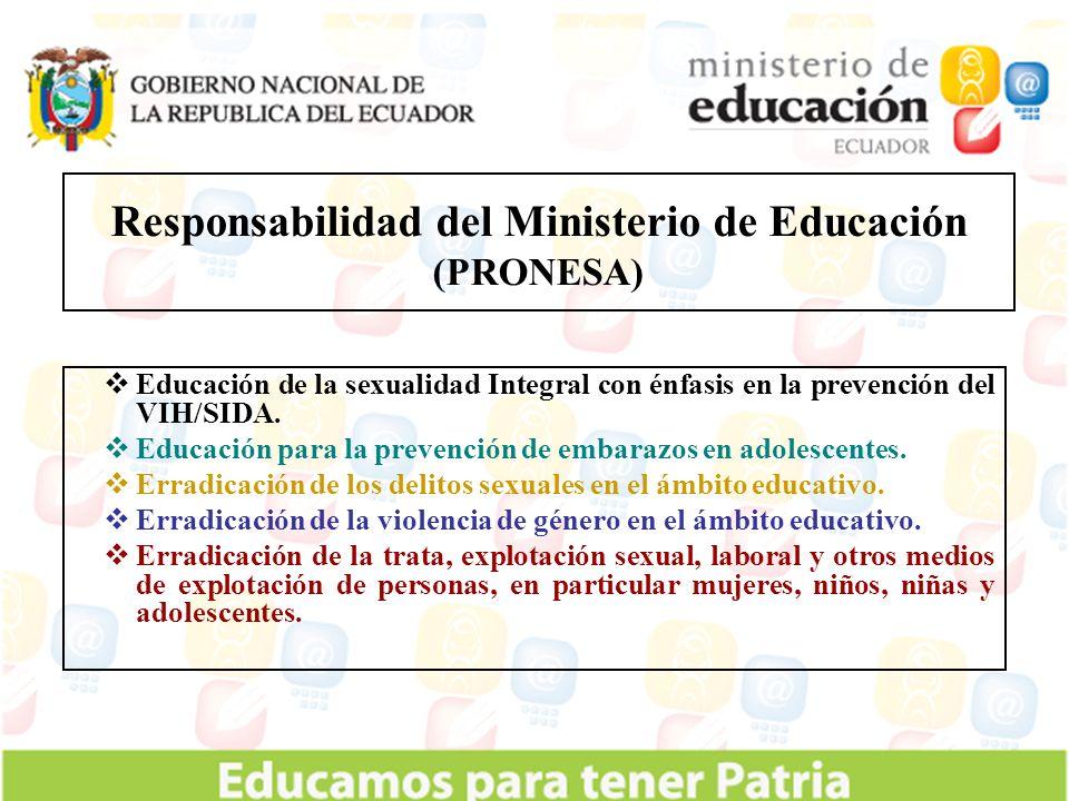 Educación de la sexualidad Integral con énfasis en la prevención del VIH/SIDA. Educación para la prevención de embarazos en adolescentes. Erradicación