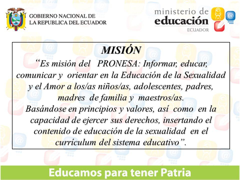 VISIÓN Formar integralmente a los/as niños/as, adolescentes, padres, madres de familia y maestros/as, para mejorar la calidad de vida de los/as ecuatorianos/as.