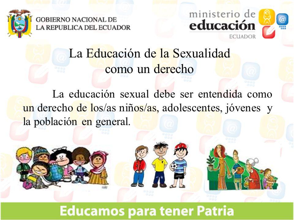 Liderar e Institucionalizar la Educación de la Sexualidad, en el sistema educativo nacional y en el ámbito intersectorial (MSP; Inclusión Social, Justicia, Gobierno).