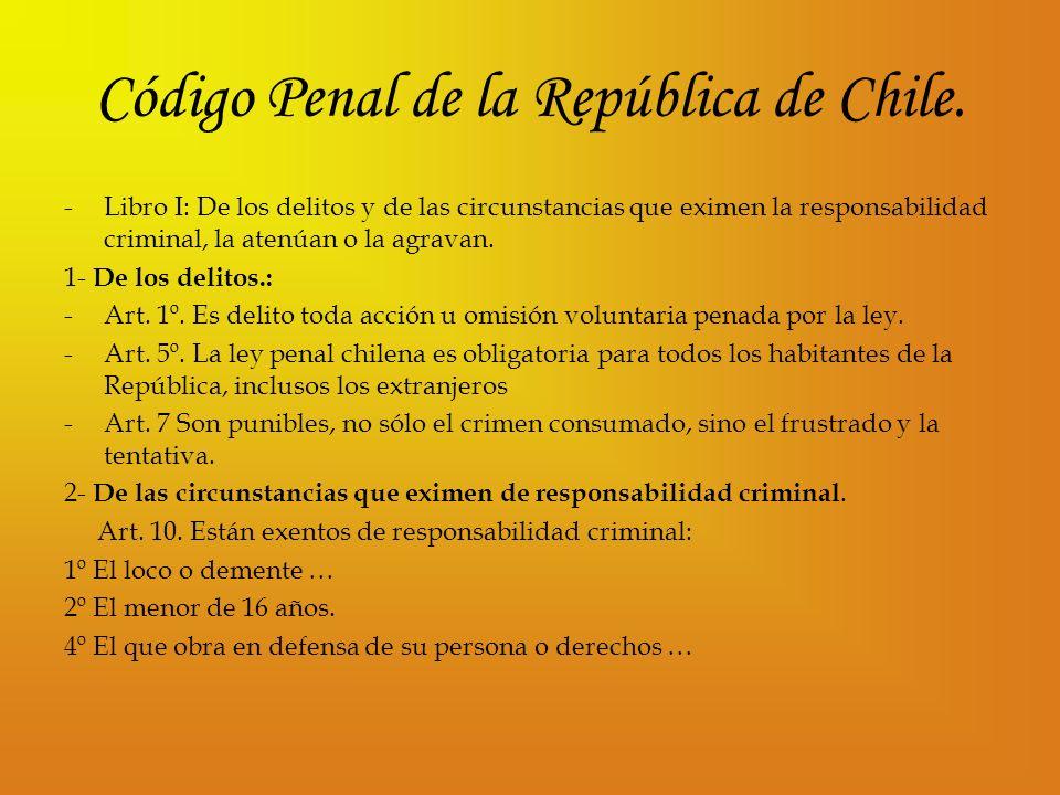 Código Penal de la República de Chile. -L-Libro I: De los delitos y de las circunstancias que eximen la responsabilidad criminal, la atenúan o la agra
