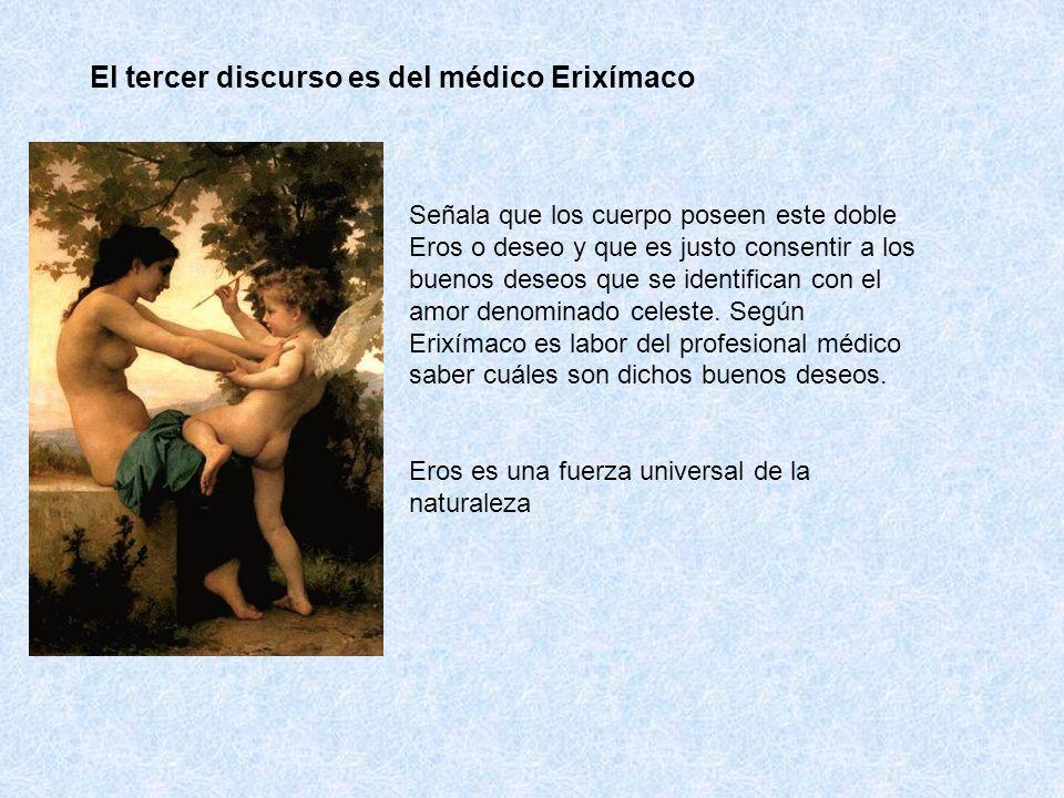 El tercer discurso es del médico Erixímaco Señala que los cuerpo poseen este doble Eros o deseo y que es justo consentir a los buenos deseos que se id