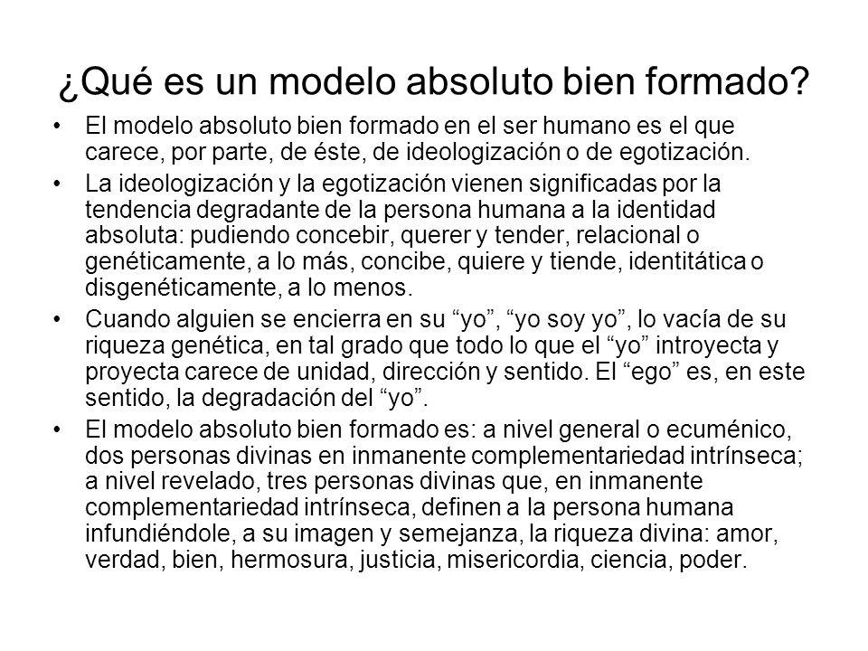 ¿Qué es un modelo absoluto bien formado? El modelo absoluto bien formado en el ser humano es el que carece, por parte, de éste, de ideologización o de