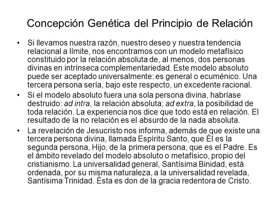 Concepción Genética del Principio de Relación Si llevamos nuestra razón, nuestro deseo y nuestra tendencia relacional a límite, nos encontramos con un