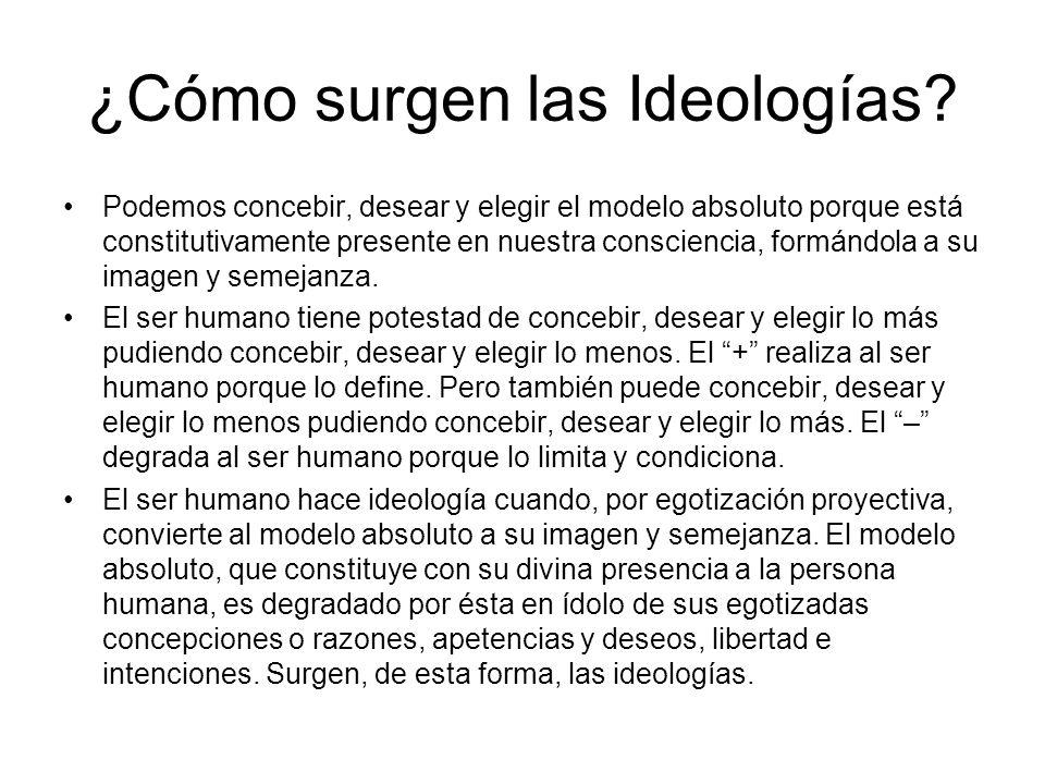 Características de las Ideologías 1.Las ideologías excluyen en tal grado a quien concibe de distinto modo que, implícita o explícitamente, queda cortada la forma de relación que debe caracterizar al ser humano.