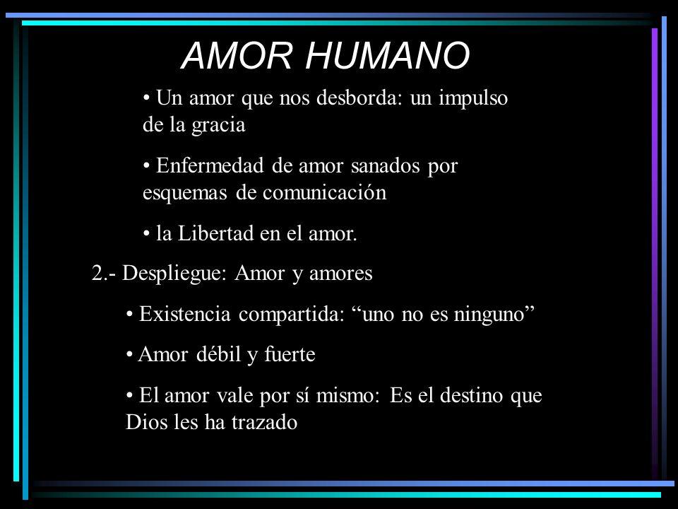 AMOR HUMANO Un amor que nos desborda: un impulso de la gracia Enfermedad de amor sanados por esquemas de comunicación la Libertad en el amor.