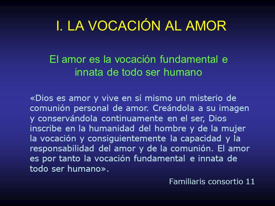 «Dios es amor y vive en sí mismo un misterio de comunión personal de amor. Creándola a su imagen y conservándola continuamente en el ser, Dios inscrib