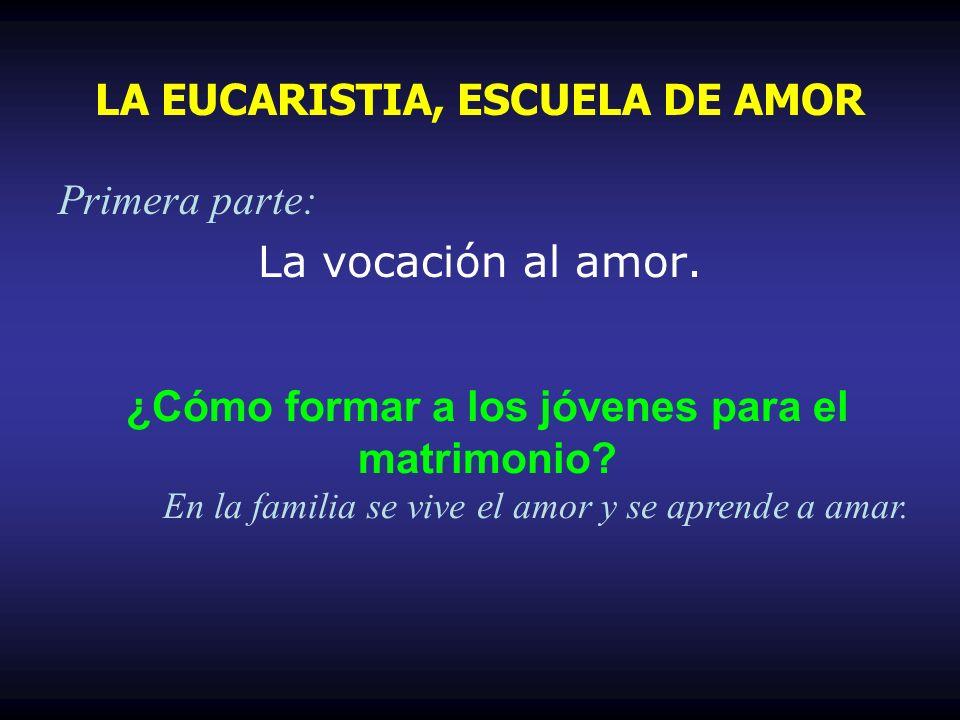 Primera parte: La vocación al amor. ¿Cómo formar a los jóvenes para el matrimonio? En la familia se vive el amor y se aprende a amar.