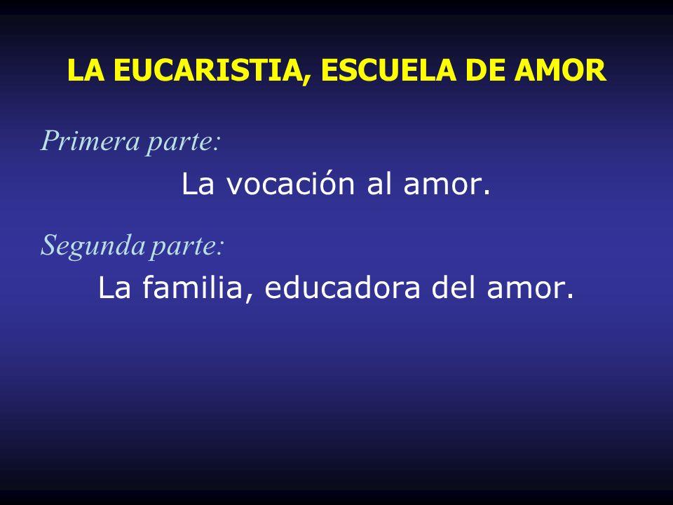 Primera parte: La vocación al amor. Segunda parte: La familia, educadora del amor. LA EUCARISTIA, ESCUELA DE AMOR
