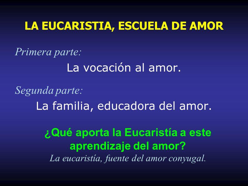 Primera parte: La vocación al amor. Segunda parte: La familia, educadora del amor. LA EUCARISTIA, ESCUELA DE AMOR ¿Qué aporta la Eucaristía a este apr