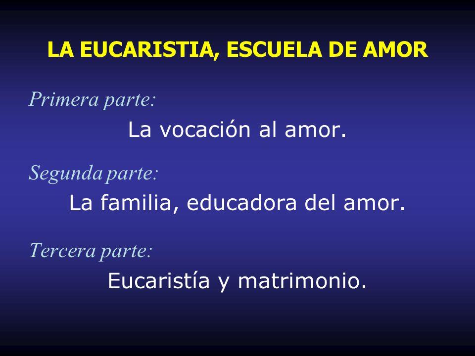 Primera parte: La vocación al amor. Segunda parte: La familia, educadora del amor. Tercera parte: Eucaristía y matrimonio. LA EUCARISTIA, ESCUELA DE A