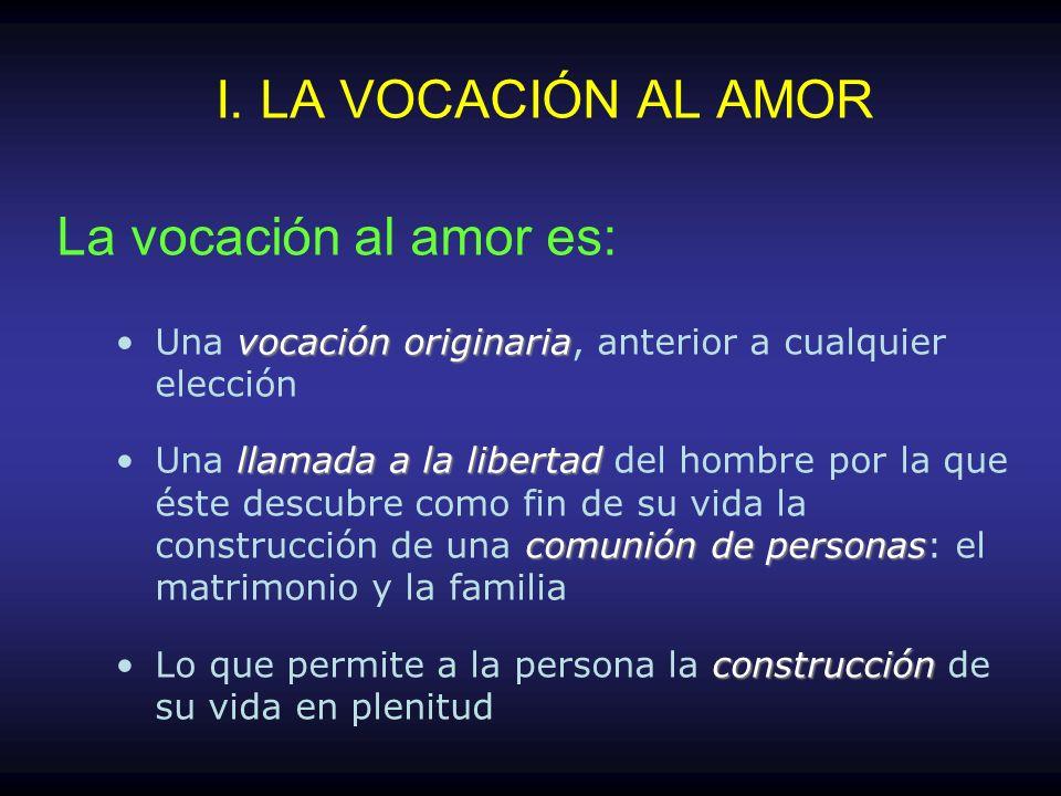I. LA VOCACIÓN AL AMOR La vocación al amor es: Una v vv vocación originaria, anterior a cualquier elección Una l ll llamada a la libertad del hombre p