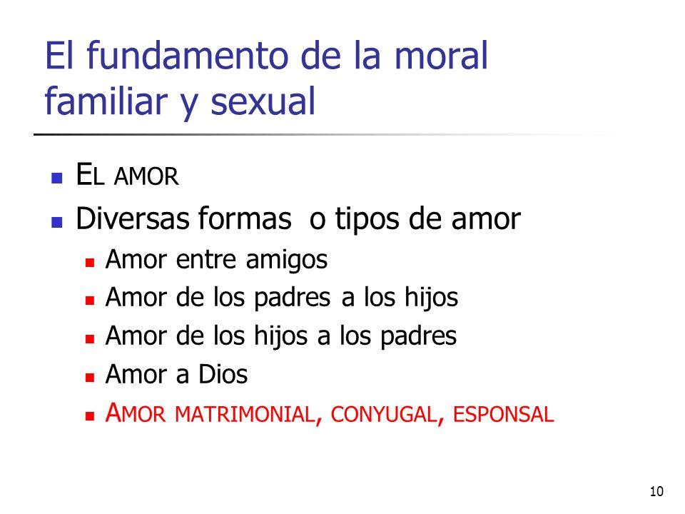 El fundamento de la moral familiar y sexual E L AMOR Diversas formas o tipos de amor Amor entre amigos Amor de los padres a los hijos Amor de los hijo
