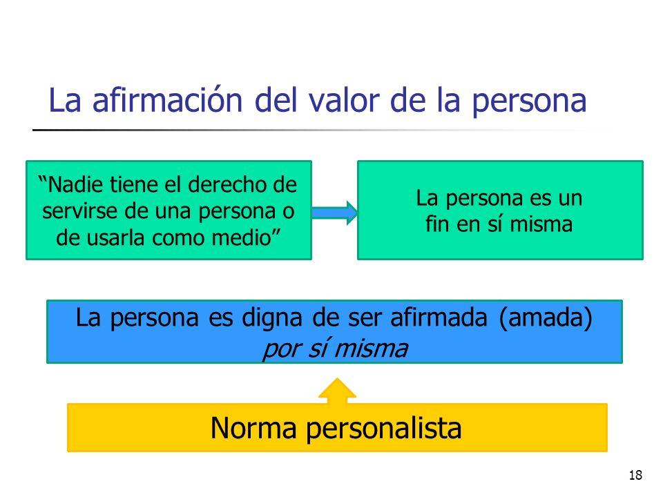 La afirmación del valor de la persona Nadie tiene el derecho de servirse de una persona o de usarla como medio La persona es un fin en sí misma La per