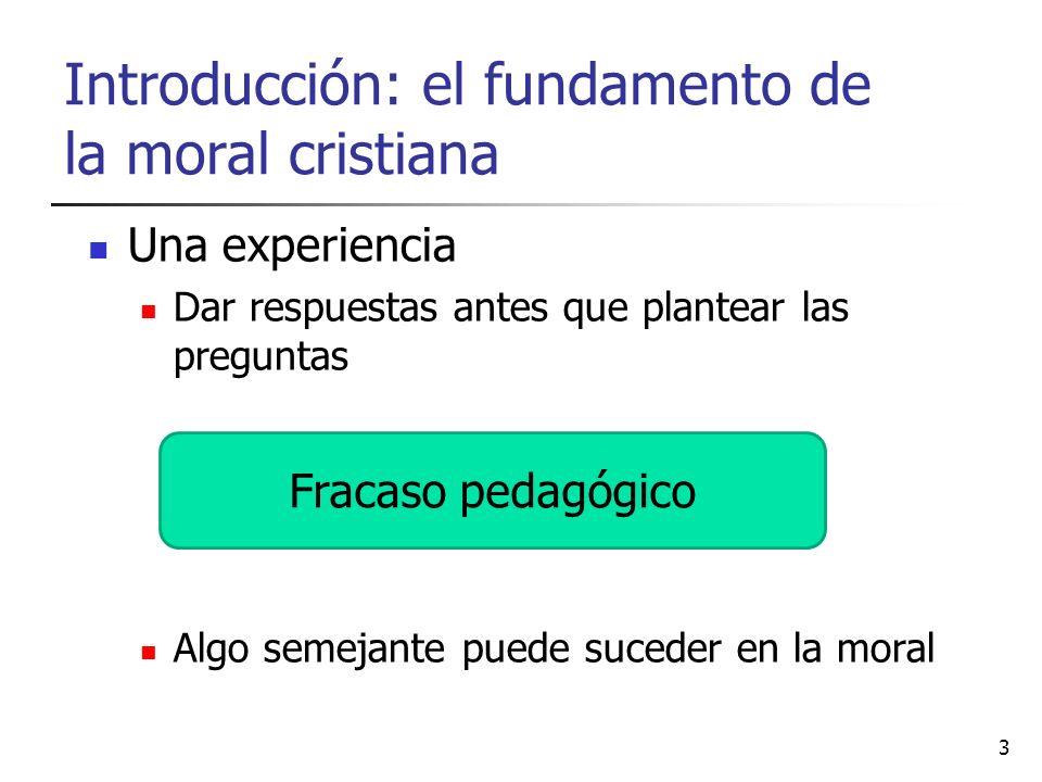 Introducción: el fundamento de la moral cristiana Una experiencia Dar respuestas antes que plantear las preguntas Algo semejante puede suceder en la m