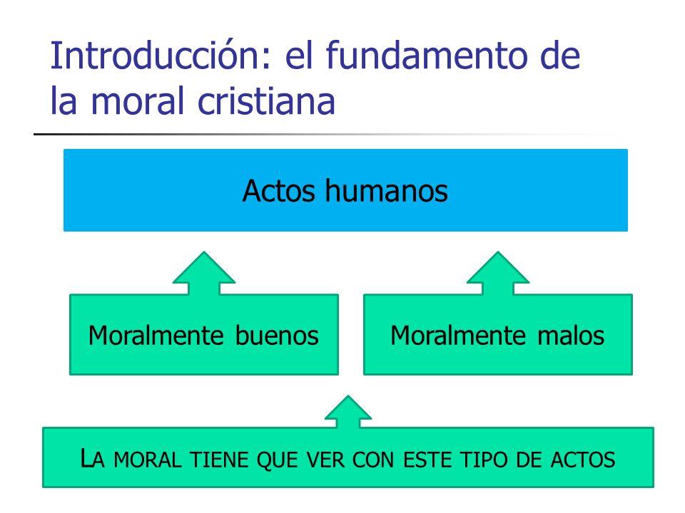 Introducción: el fundamento de la moral cristiana Actos humanos Moralmente buenosMoralmente malos L A MORAL TIENE QUE VER CON ESTE TIPO DE ACTOS