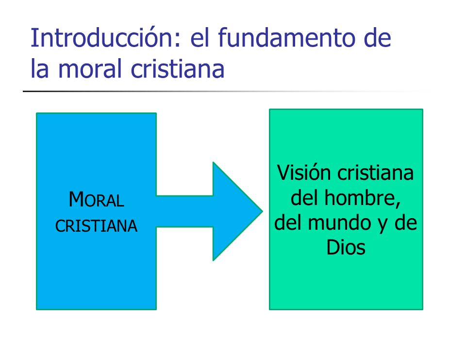 Introducción: el fundamento de la moral cristiana M ORAL CRISTIANA Visión cristiana del hombre, del mundo y de Dios