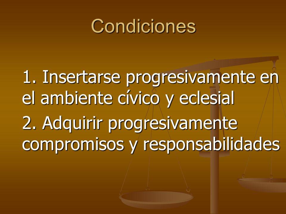 Condiciones 1.Insertarse progresivamente en el ambiente cívico y eclesial 2.