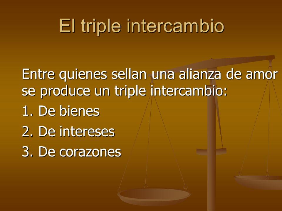 El triple intercambio Entre quienes sellan una alianza de amor se produce un triple intercambio: 1.