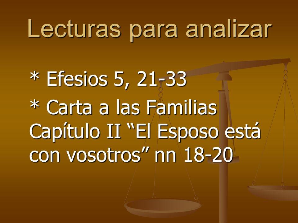 Lecturas para analizar * Efesios 5, 21-33 * Carta a las Familias Capítulo II El Esposo está con vosotros nn 18-20