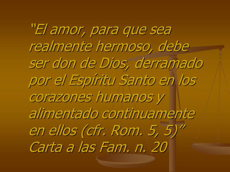 El amor, para que sea realmente hermoso, debe ser don de Dios, derramado por el Espíritu Santo en los corazones humanos y alimentado continuamente en ellos (cfr.