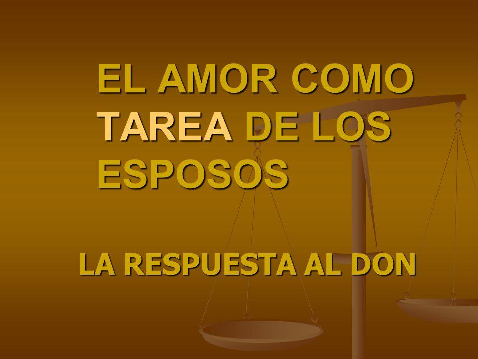 EL AMOR COMO TAREA DE LOS ESPOSOS LA RESPUESTA AL DON