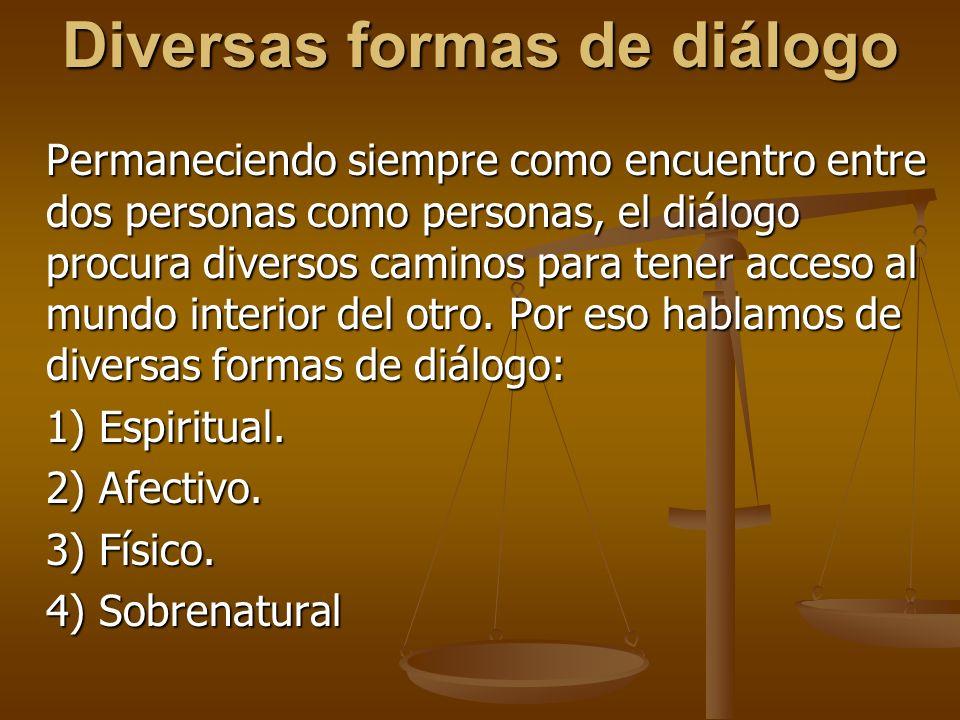 Diversas formas de diálogo Permaneciendo siempre como encuentro entre dos personas como personas, el diálogo procura diversos caminos para tener acceso al mundo interior del otro.
