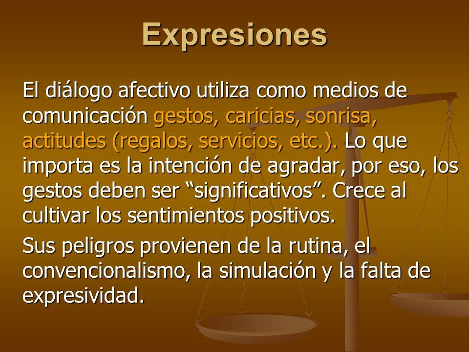 Expresiones El diálogo afectivo utiliza como medios de comunicación gestos, caricias, sonrisa, actitudes (regalos, servicios, etc.).