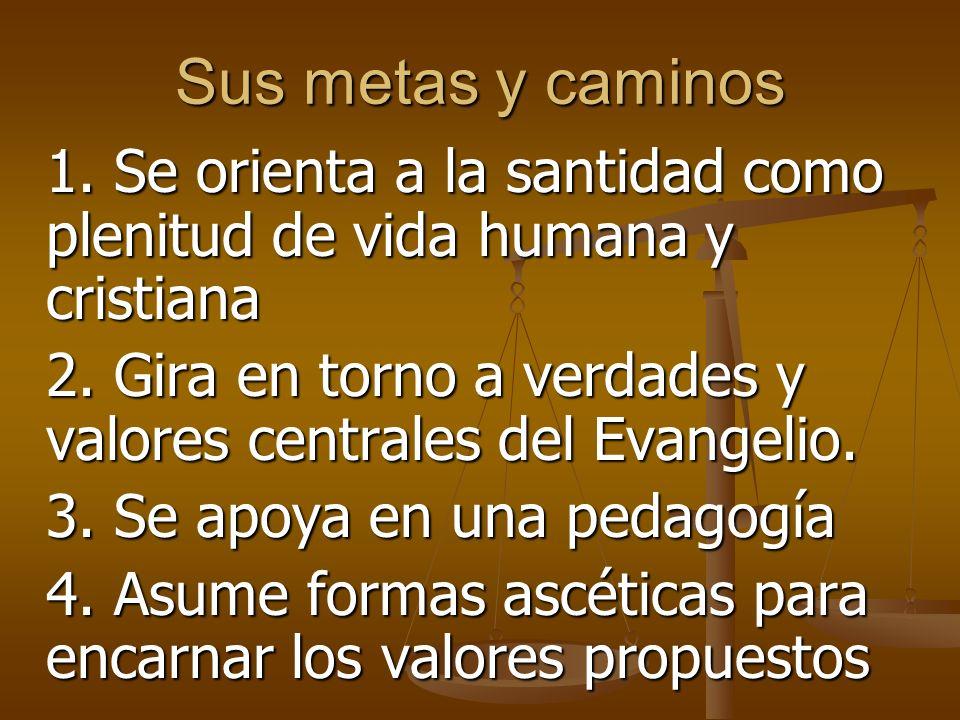 Sus metas y caminos 1.Se orienta a la santidad como plenitud de vida humana y cristiana 1.