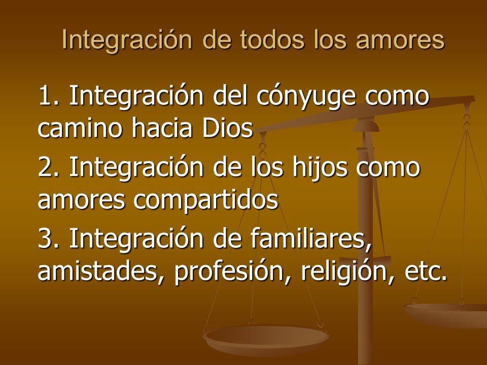 Integración de todos los amores 1.Integración del cónyuge como camino hacia Dios 2.