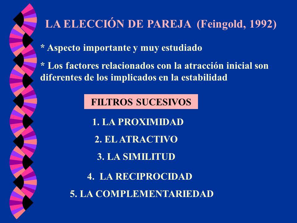 LA ELECCIÓN DE PAREJA (Feingold, 1992) * Aspecto importante y muy estudiado * Los factores relacionados con la atracción inicial son diferentes de los
